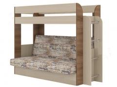 Кровать 2-х ярусная с диваном Карамель 75 Ясень Шимо-Газета